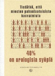 Pahanlaatuisista kasvaimista 40 % on urologisia syöpiä